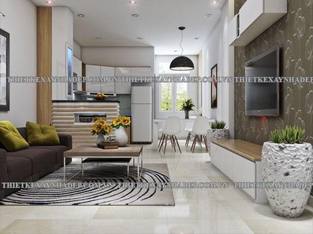 Mẫu thiết kế nhà 2 tầng 1 tum đẹp dt 5x20m ở tỉnh An Giang Phong-khach-1