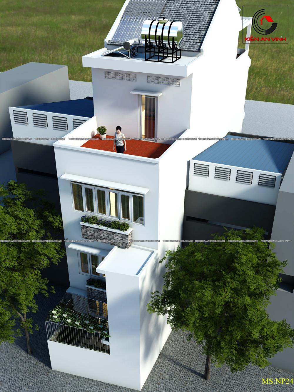 Mẫu thiết kế nhà 2 tầng 1 tum đẹp dt 5x20m ở tỉnh An Giang Thiet-ke-nha-dep-2-tang-5x20